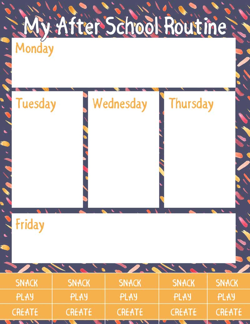 Free Printable After School Routine Planners * Moms and Crafters