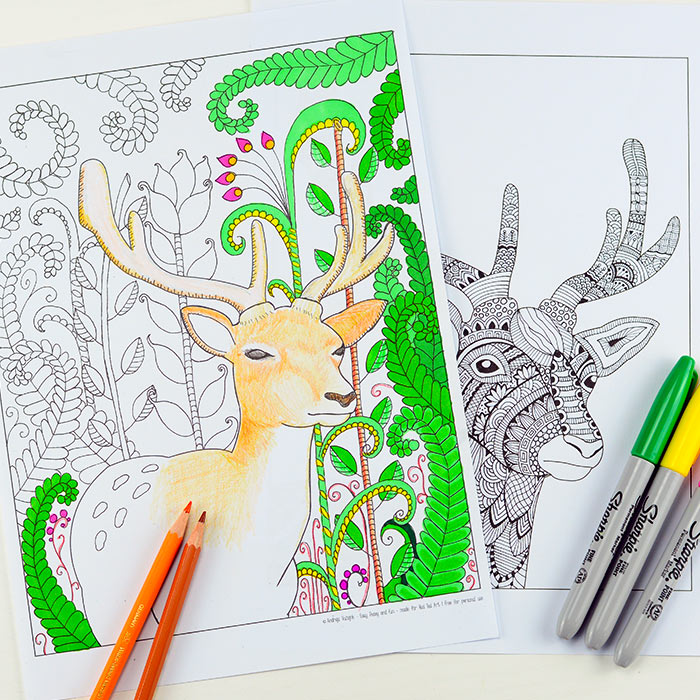 Check Out Mrs Deers Adorable Fox And Bunny Friends In This Woodland Trio Coloring Page For Adults Kids Although I Think Mr Foxy Is Up To