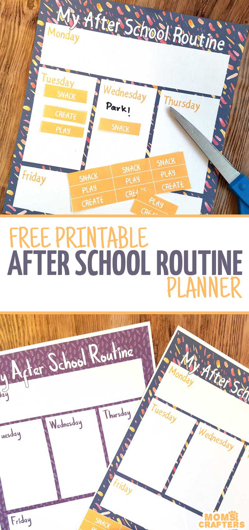 Get control over your preschooler's after school routine with these fun free printable after school routine planners! Two versions - one for toddlers and preschool and one for grade school kids - this parenting organization printable will help you plan ahead!