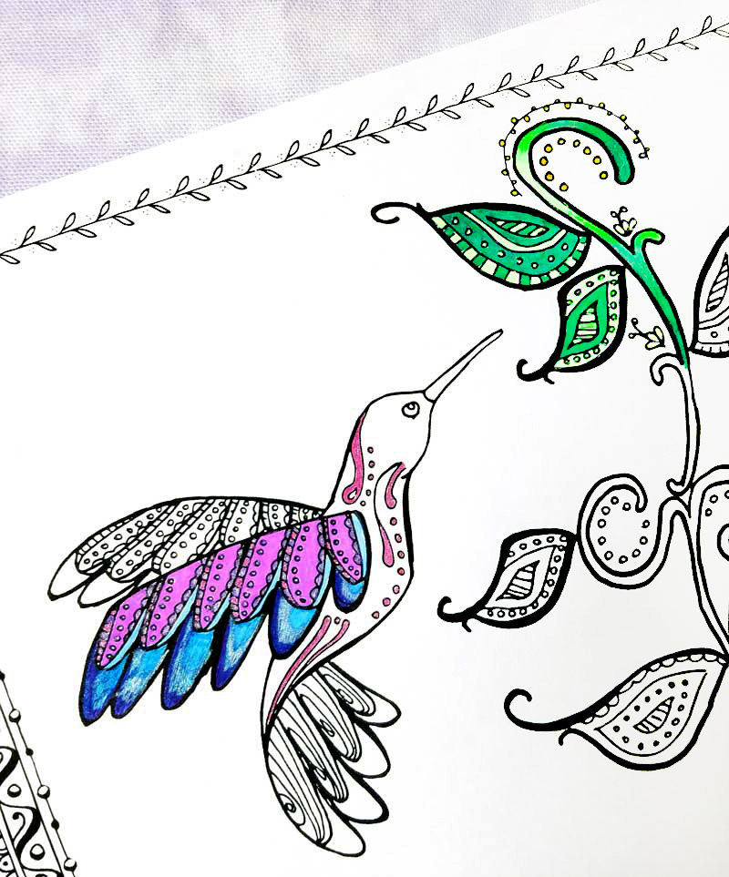 Download and relax with this free printable hummingbird coloring page for adults - perfect for teens and tweens too! This beautiful and intricate colouring pages is perfect for Spring or for bringing a little cheer into your day with a fun bird and some swirly doodle leaves - a great animal themed coloring page with a feminine touch...