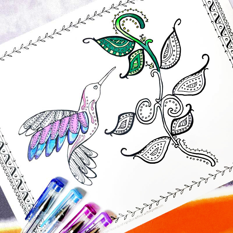 Download And Relax With This Free Printable Hummingbird Coloring Page For Adults