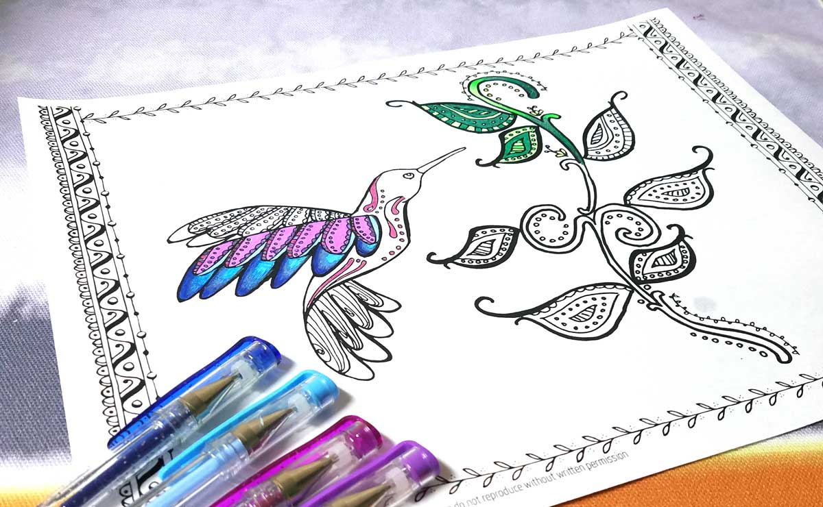 Hummingbird Coloring Page - a free printable coloring page for adults!