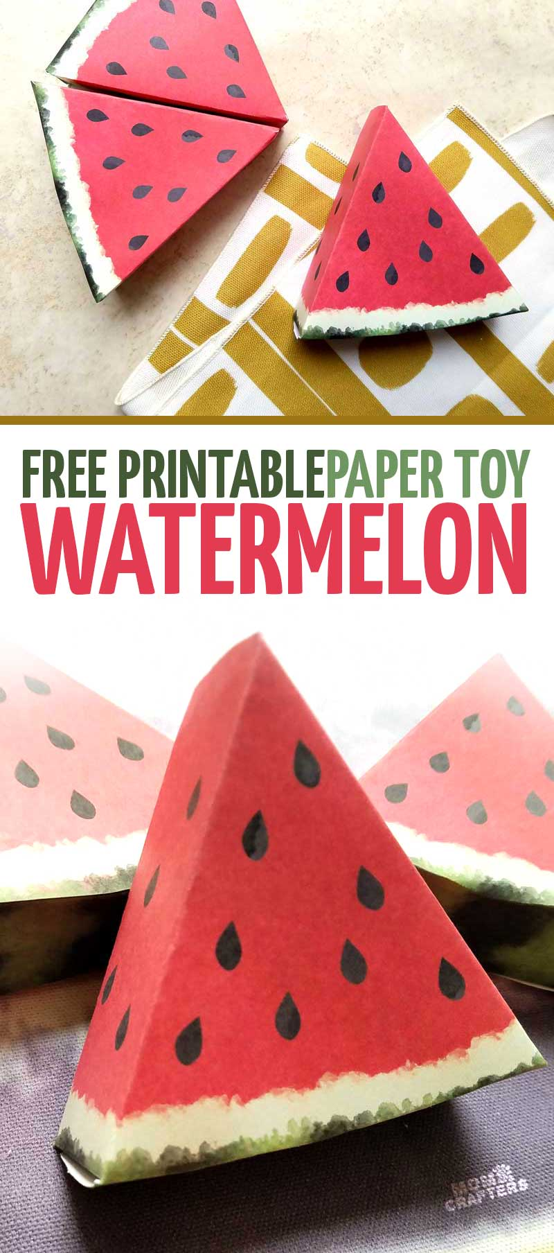 graphic relating to Free Printable Paper Crafts referred to as Paper Craft Templates for Engage in Fruit: Watermelon * Mothers and