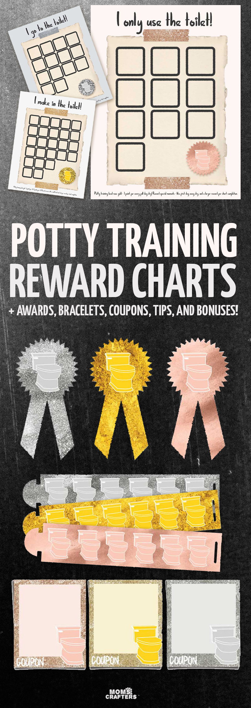 potty training reward charts and awards moms and crafters these potty training chart printables rewards system and awards are the perfect positive reinforcement