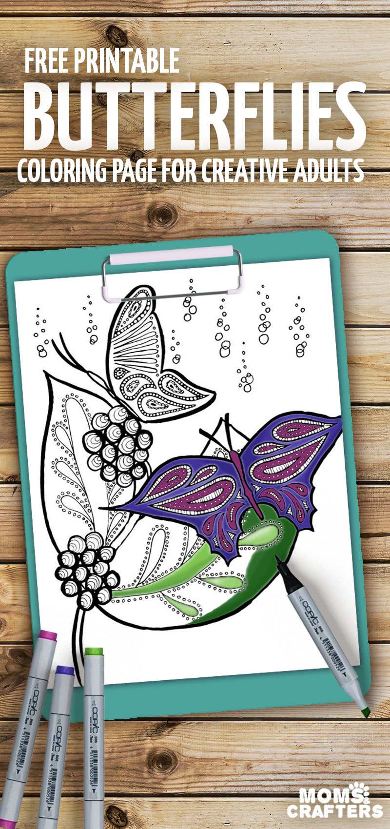 Print these beautiful butterflies coloring pages for adults - these stunning Spring and Summer coloring pages are totally relaxing and colour therapy - enjoy these free printables!