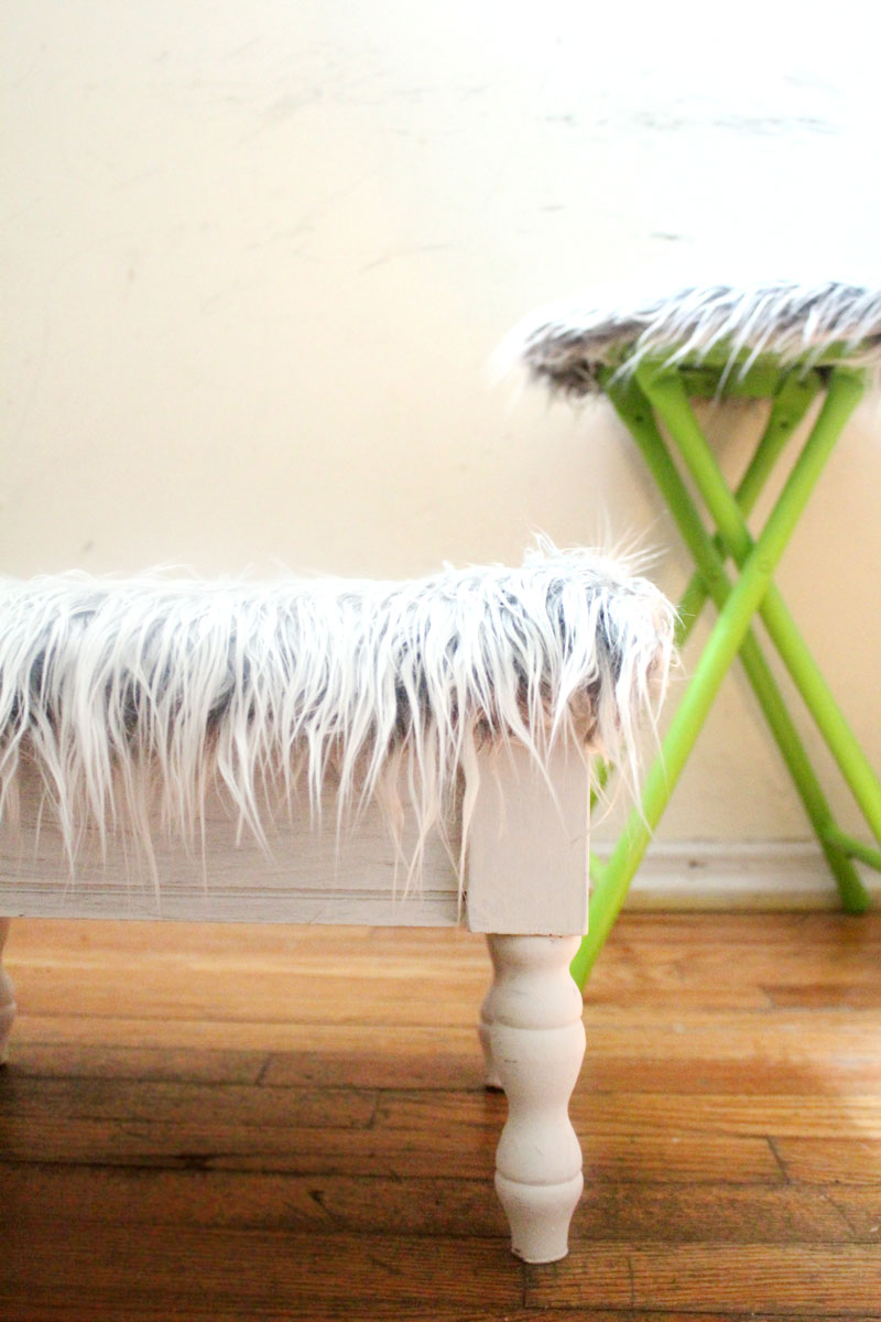 Faux Fur Stool Makeover Quick Amp Easy Moms And Crafters