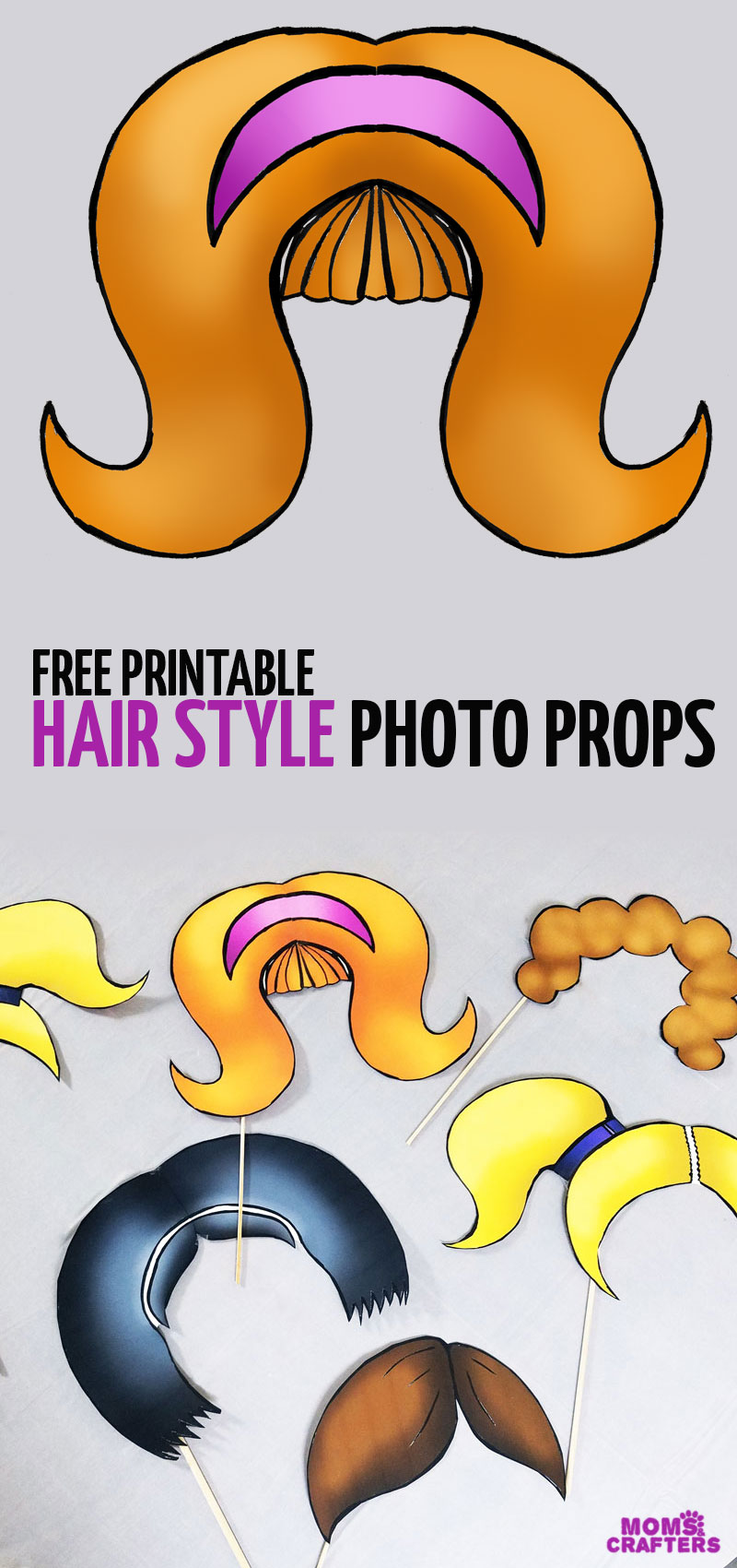 graphic regarding Free Printable Photo Props named Photograph Booth Props - Huge Hair Types * Mothers and Crafters