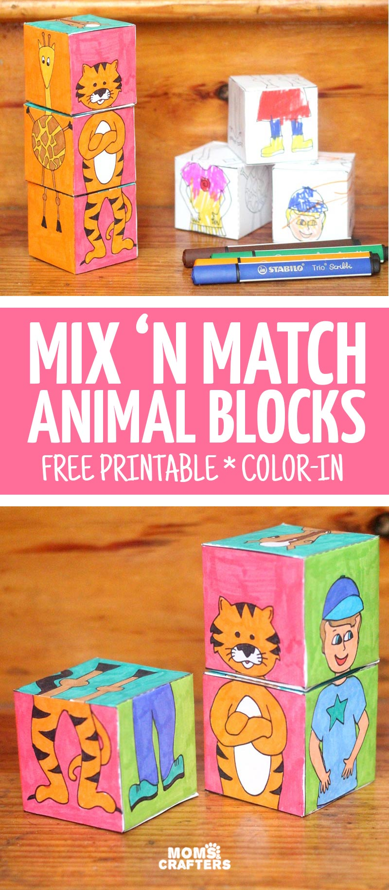 Animal Blocks: Free Printable Color-in Mix \'n Match Paper Toy!