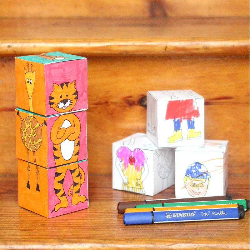 Print, color, and craft these adorable mix 'n match animal blocks! This is much more than a kids activity or a DIY toy - you can color this unique colouring page, create it, and then play with it! Perfect for toddlers and prechoolers, it's the ultimate printable kids activities you'll enjoy, and a perfect summer boredom buster.