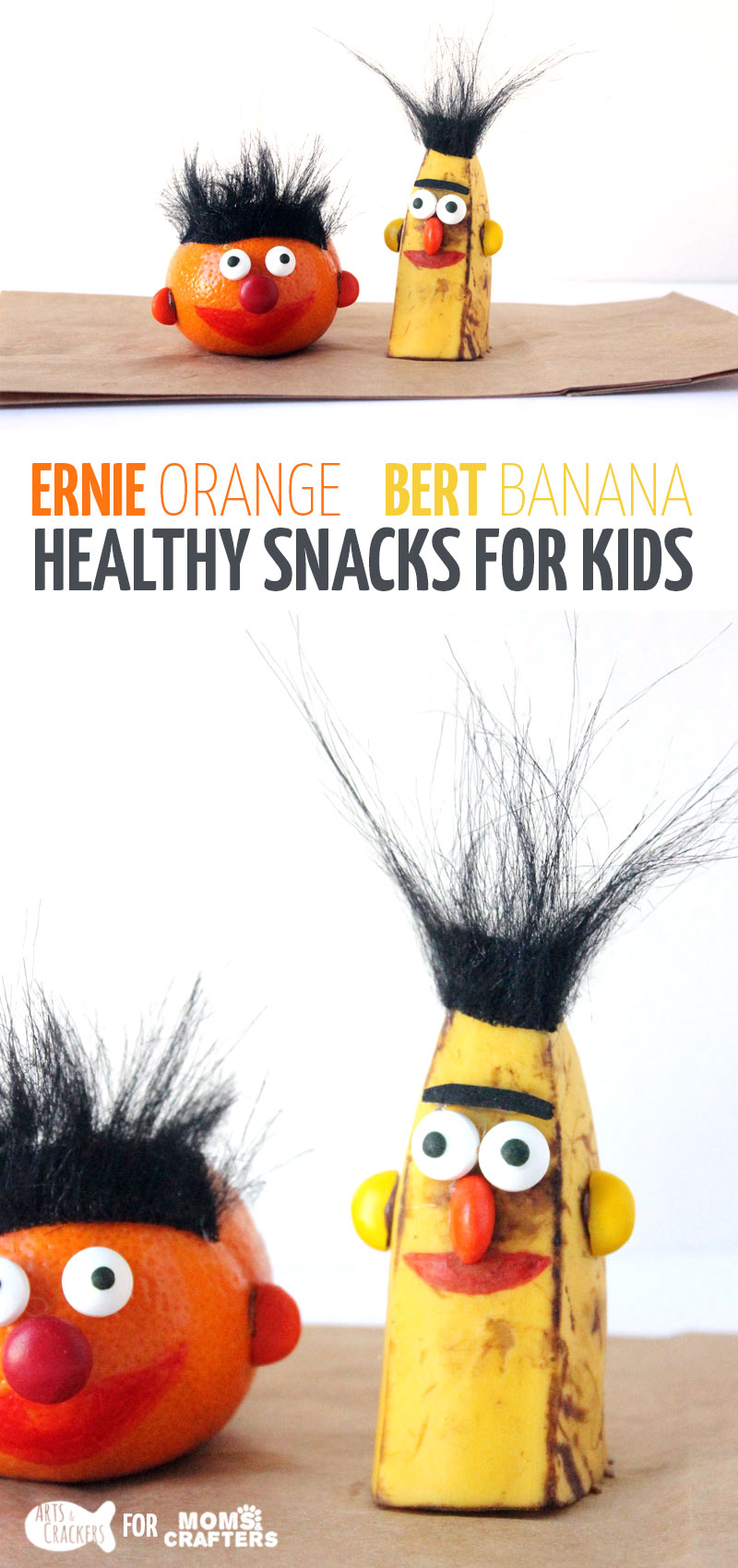 Make adorable Bert and Ernie snacks - perfect snack idea for picky kids who also happen to love Sesame Street! Great idea for a birthday party or for healthy school lunches.