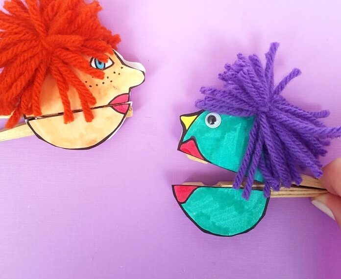 Clothespin Paper Puppets – free printable