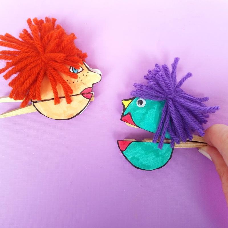 I love these adorable quirky paper puppets - with mouthes that open and close with a clothespin! Love this unique, easy clothespin craft for kids (or adults). It includes a free printable for the faces, which you can then color in, and add yarn and googly eyes for character. This free printable coloring page craft is so cool!