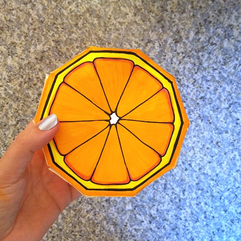 These free printable citrus fruit coloring pages fold into surprise message cards - put a photo inside, write a corny love note, either way it will be loved! This citrus paper craft works as a DIY paper toy and the fun lemon, orange, and lime slices can be played with or given as gifts.