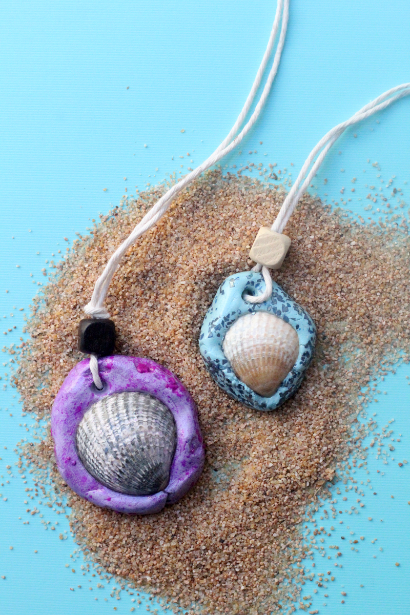 Make an easy DIY seashell necklace for your little mermaid - this easy jewelry making craft for kids is also a perfect summer camp activity for tweens and teens! It's made from air dry clay and a super cool glaze, with instructions for adding different textures to the clay.