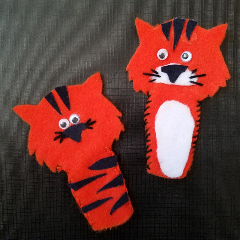 tiger puppet template - tiger finger puppets an easy diy toy free template