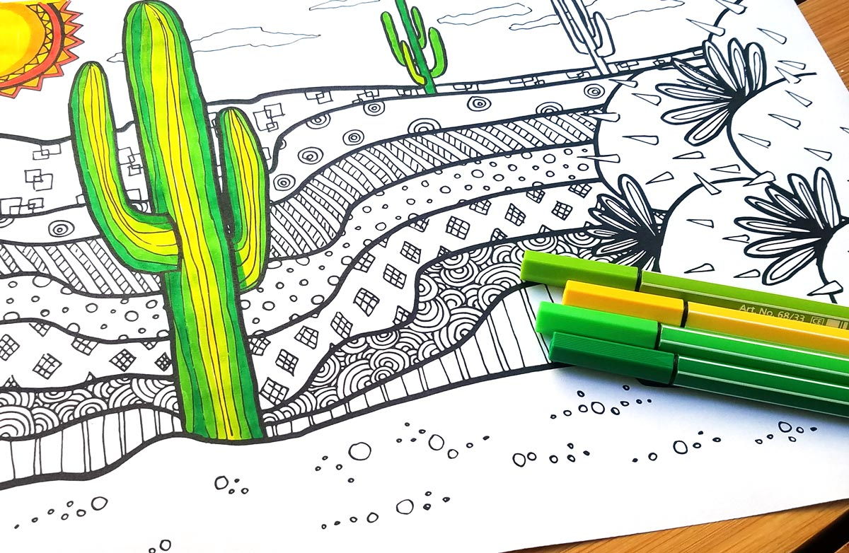 cactus coloring page for adults free printable moms and crafters