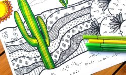click to download this free printable cactus coloring page for adults - and you'll get 5 more free colouring pages to color in for grown ups! This dessert scene is complex and great for big kids, tweens, and teens to color, and perfect for summer boredom!