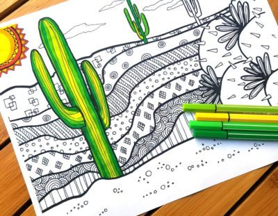 Cactus Coloring Page for Adults – Free Printable
