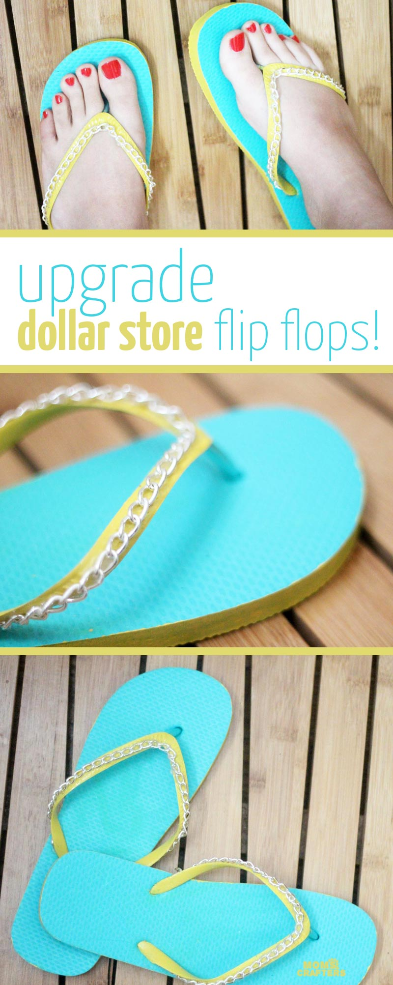 Make your cheap dollar store flip flops look super cool with these DIY flip flops - an easy summer camp craft for teens and tweens - or grown-ups too!