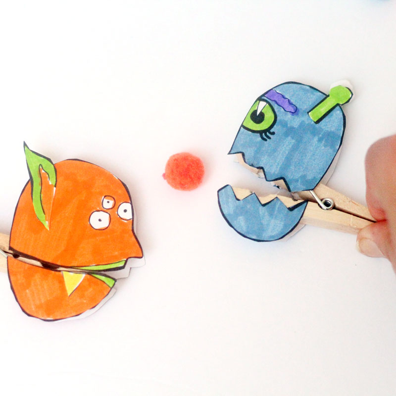 Make these adorable monster clothespin puppets using the free printable template - and then play
