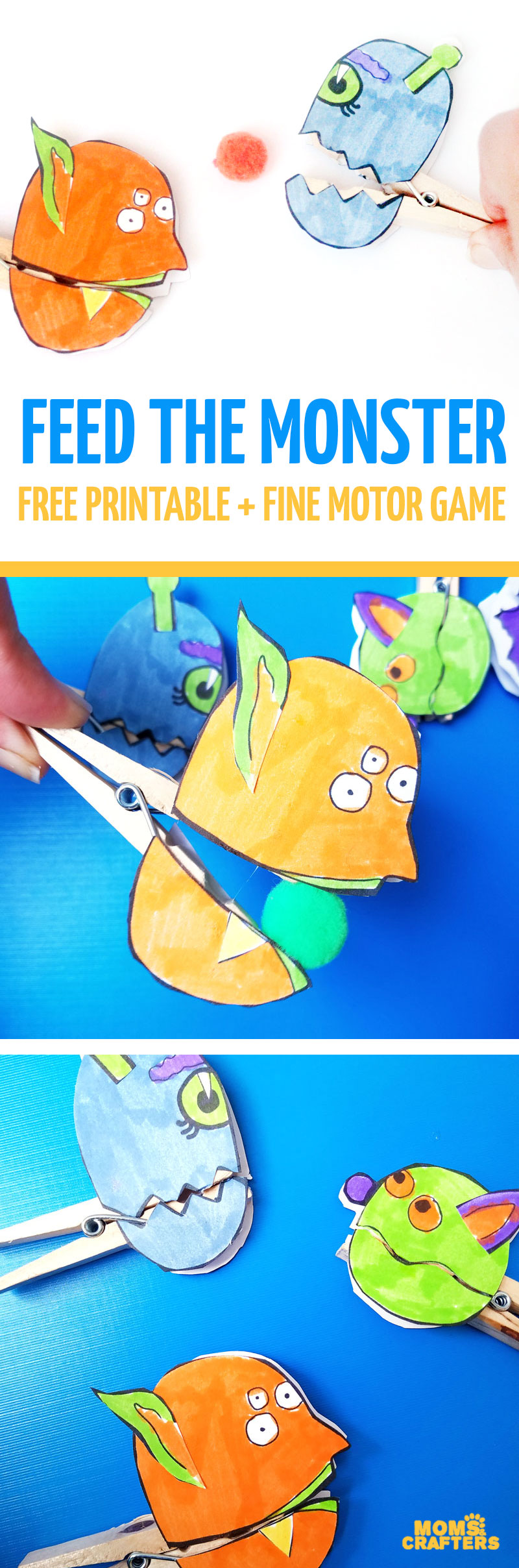 "Make these adorable monster clothespin puppets using the free printable template - and then play ""Feed the Monster"" - a fun fine motor activity and game to help improve pincer grasp! You'll love this paper craft and free printable activity for kids. It's also great for Halloween crafts but fun for year-round too."