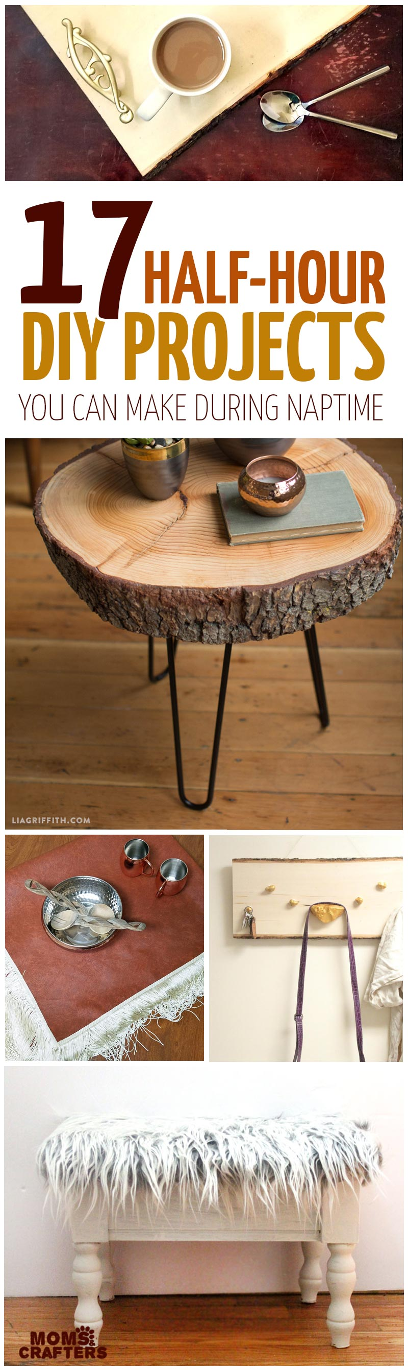17 Beautiful, simple DIY projects that can be done during naptime - these DIY home projects are easy for beginners and perfect for busy moms who like to create. They include DIY furniture, makeovers, home decor, and organizers. You'll love these home crafts!