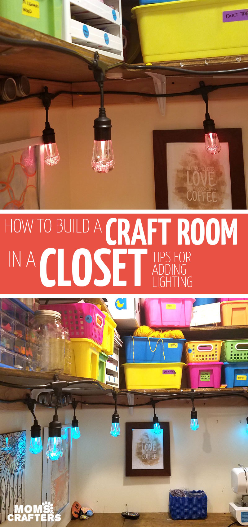 Click if you think you have no space for a craft room! Learn how I made the coolest craft room in a closet with this amazing craft room reveal and some super craft room hacks #craftroom #homedecor #diy