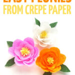 Click to learn how to make crepe paper peonies -great DIY paper flowers for beginners! You'll get a free template and an easy-to-follow tutorial to make this fun Spring craft for teens and grown-ups