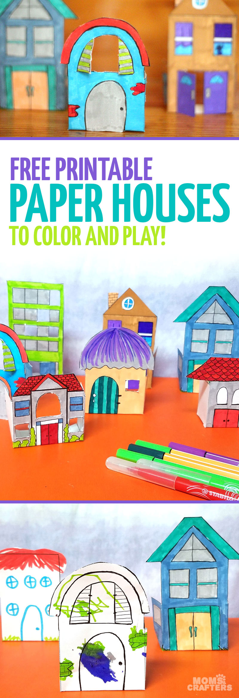 print and color these fun paper houses and then play with them this color - Colored Paper Printable