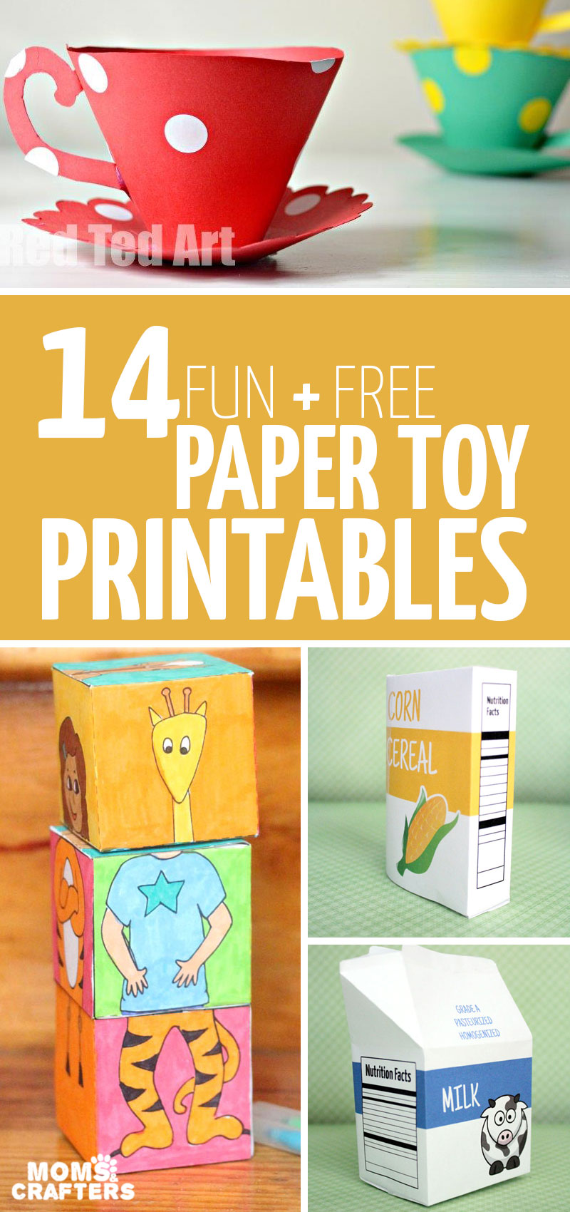 Click for a list of super cool free printable paper toy templates you can download! You'll love these paper crafts for moms and kids that can be played with when you're done crafting them #papercraft #papertoy #coloringpage