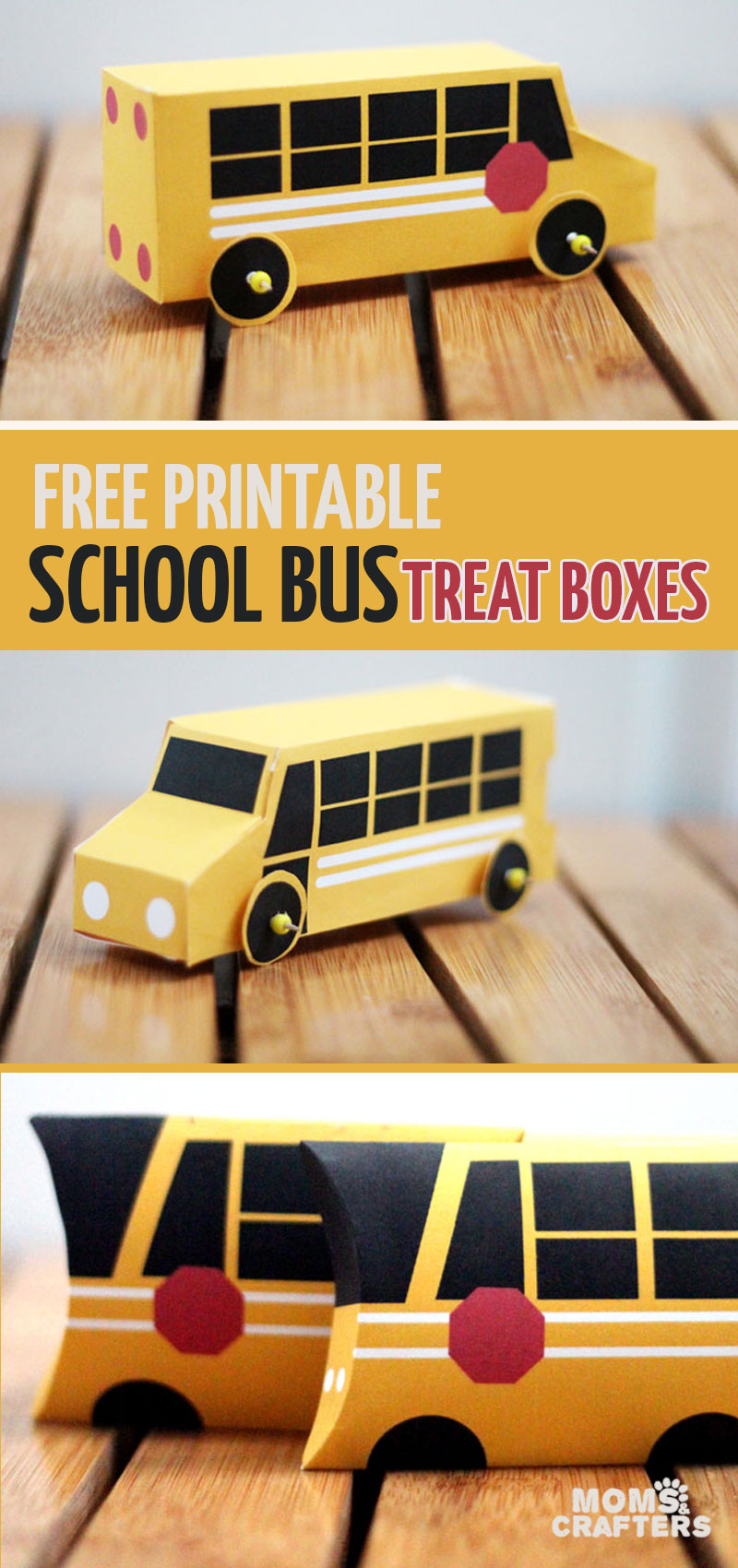 Click for the coolest free printable school bus pillow treat boxes and paper toys ever! These are wonderful for back to school lunch boxes or for end of year teacher gifts! #papercrafts #treatboxes #freeprintable