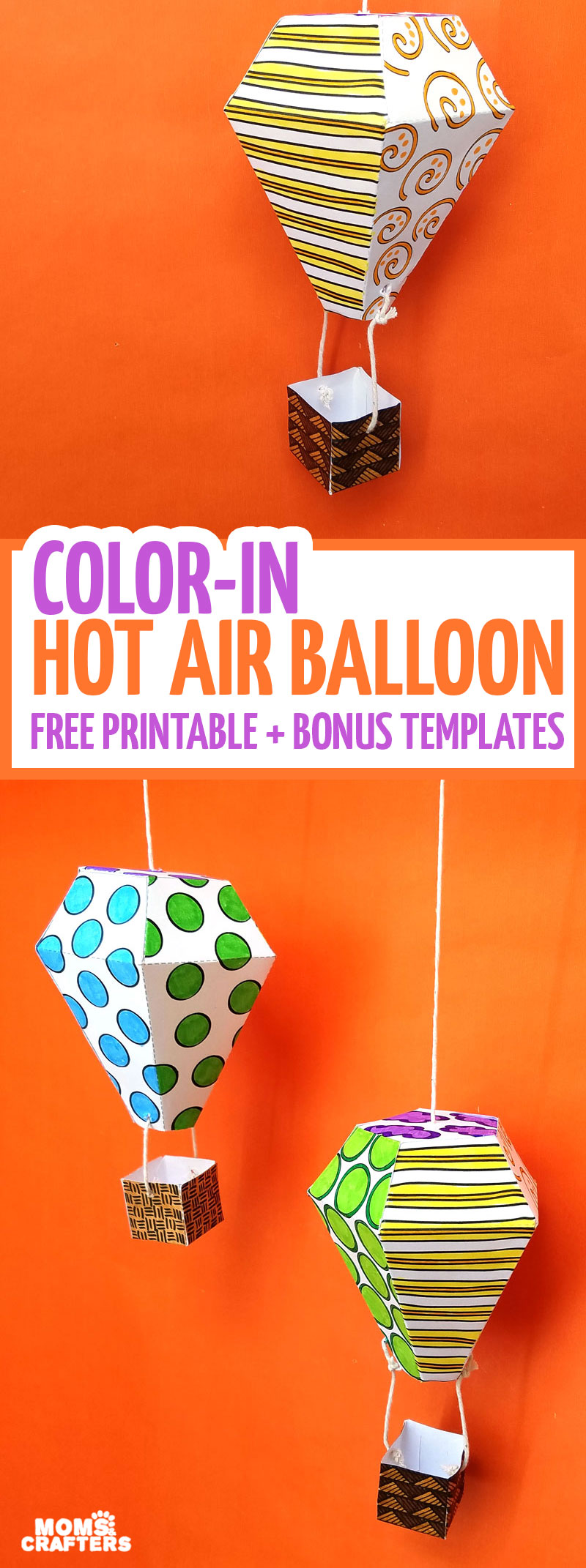 air balloon mobile template and coloring page moms and crafters
