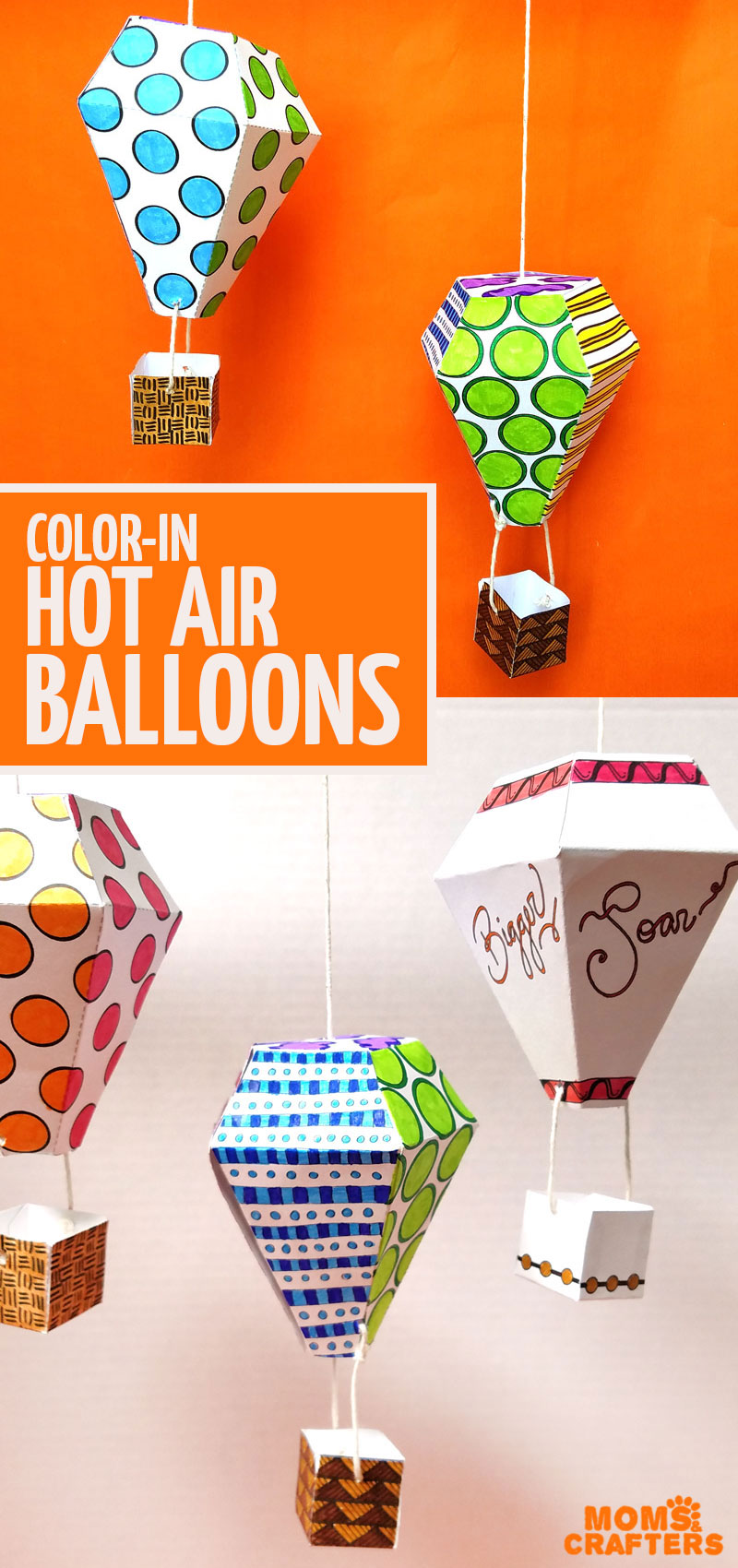 Click to grab these cool color-in hot air balloon mobiles! Includes a FREE PRINTABLE sample coloring page for adults - this is a cool paper craft nursery or playroom decor idea #papercrafts #adultcoloring #diy