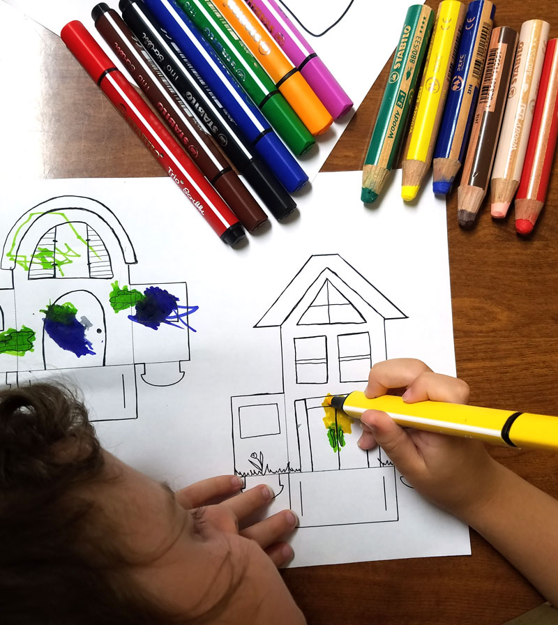 Print and color these fun paper houses and then play with them! This color-in paper craft for kids and adults is easy to create, open-ended and really entertaining! It's a great rainy day activity for preschoolers too and a unique coloring page and papercraft.