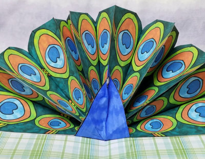 Peacock Craft – Pop Up Paper Peacock with Free Printable Feathers