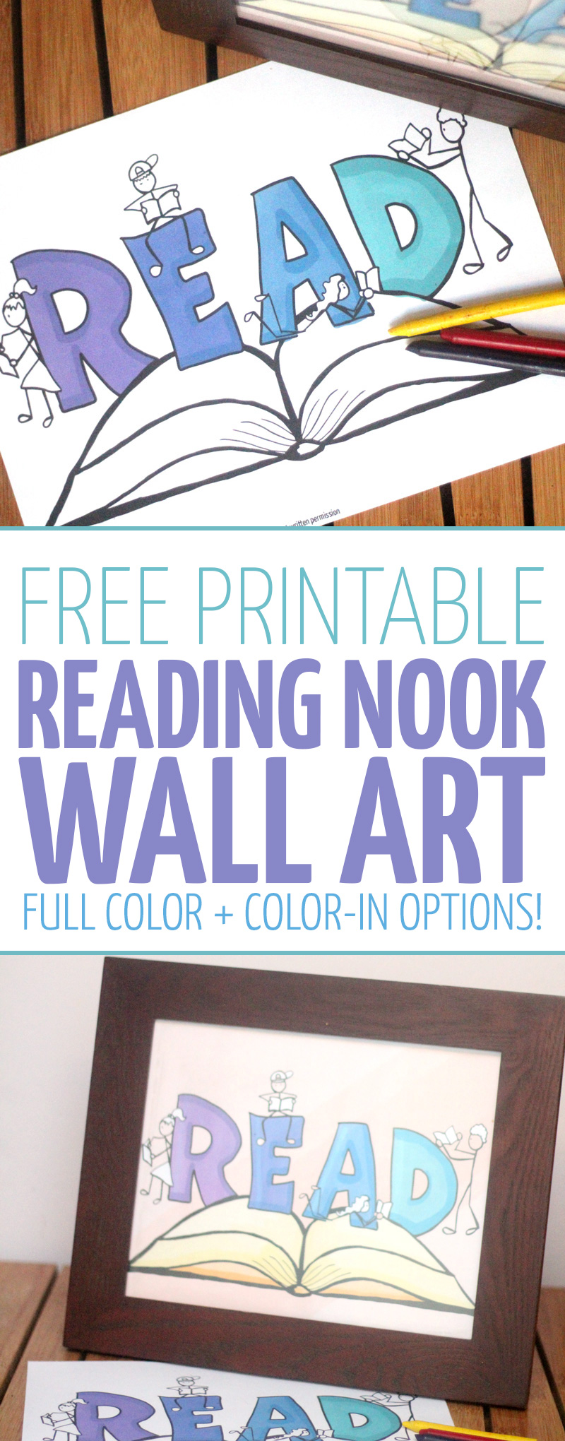 Free printable reading nook wall art: Full Color or color-in version! You'll love this cool reading nook idea - it's a fun way to involve the kids! Plus, click to learn how you can encourage literacy and reading in kids by letting them choose their own FREE books! This book coloring page for kids (or even adults can color it) is a fun kids literacy activity. The full color version makes an amazing poster for a reading corner, playroom, or kids room!