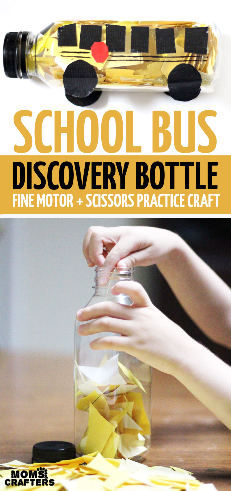Click for a sweet tutorial on how to make a school bus discovery bottle - a great kindergarten or preschool preparation activity and scissors skills cutting practice, plus it makes a cool fine motor activity and DIY sensory toy for back to school! You'll love this cool back to school craft for kids. #schoolbus #backtoschool #finemotor