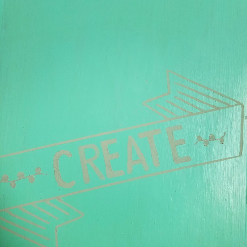 """Open up for a cool surprise! Update a vintage sewing box with this cool DIY makeover using stencils. The top says """"create"""" and there are beautiful patterns inside - you simply won't believe that this was a flea market find! One of my favorite thrift store makeovers and trash to treasure DIY projects ever, and perfect for craft room organization."""