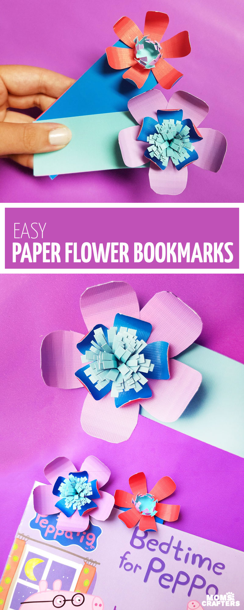 Craft these beautiful paper flower bookmarks - an easy paper craft for kids and teens! You'll love these easy DIY flowers made from cardstock and placing them on a bookmark helps kids love to read and promotes literacy.