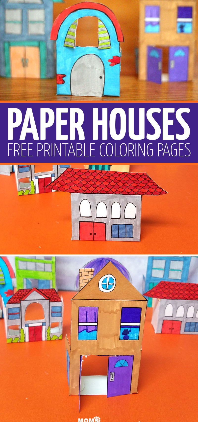Click to download your free printable paper houses - a fun paper toy that can also be used as Christmas or holiday decorations!