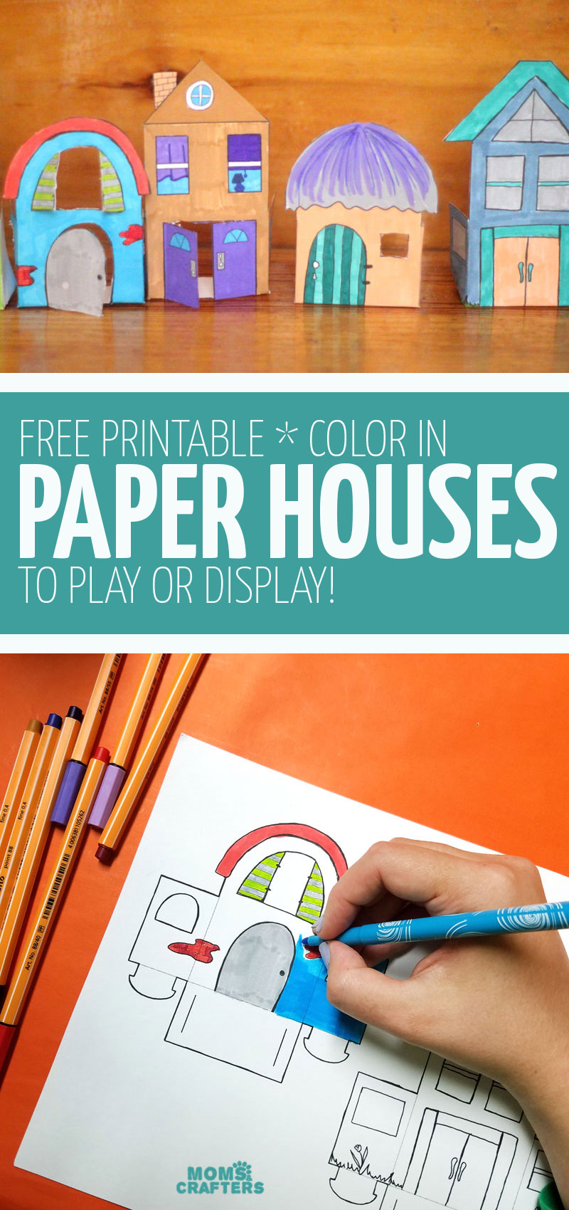 Craft these paper houses - fun free printable coloring pages and paper crafts for kids, teens, tweens, and adults!