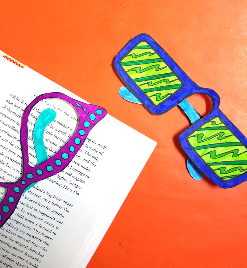 "Print and craft these free printable ""reading glasses"" coloring bookmarks - these cool bookmarks coloring pages for adults (and kids too!) are a fun paper craft and boredom buster! These magnetic DIY bookmarks stay in place and are so much fun to create!"