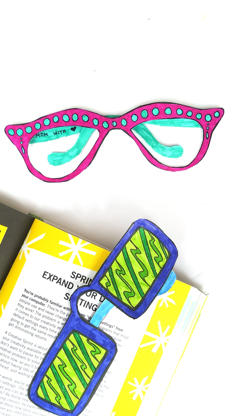 photograph regarding Printable Sunglasses known as No cost Printable Looking through Gles Coloring Bookmarks * Mothers and