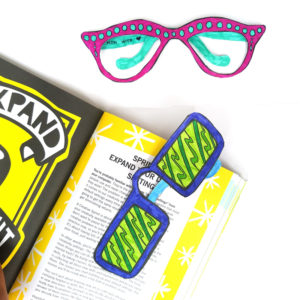 """Print and craft these free printable """"reading glasses"""" coloring bookmarks - these cool bookmarks coloring pages for adults (and kids too!) are a fun paper craft and boredom buster! These magnetic DIY bookmarks stay in place and are so much fun to create!"""