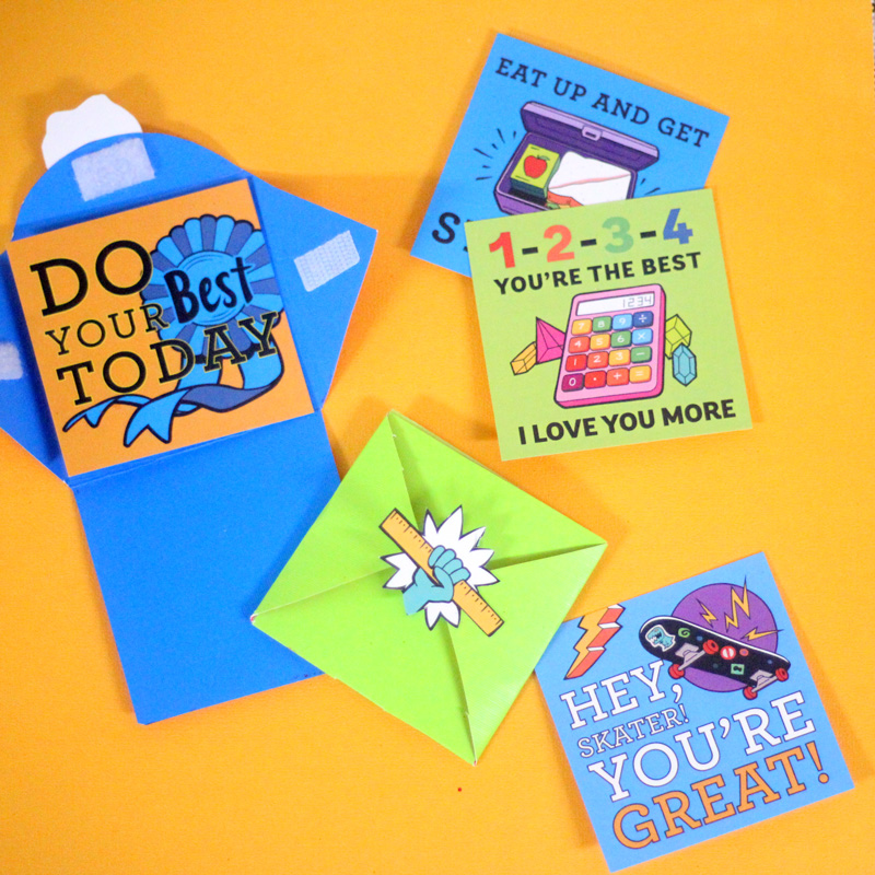 "Want to send your kid off with lunch box notes but don't have time? Get these free back to school printables and create this ""lazy lunch box notes"" system so that you can drink your coffee HOT! Just swap out the note inside and recycle as needed. Your little one will still feel special with the small memento from mom. Both you and your child will have the best first day of school ever!"