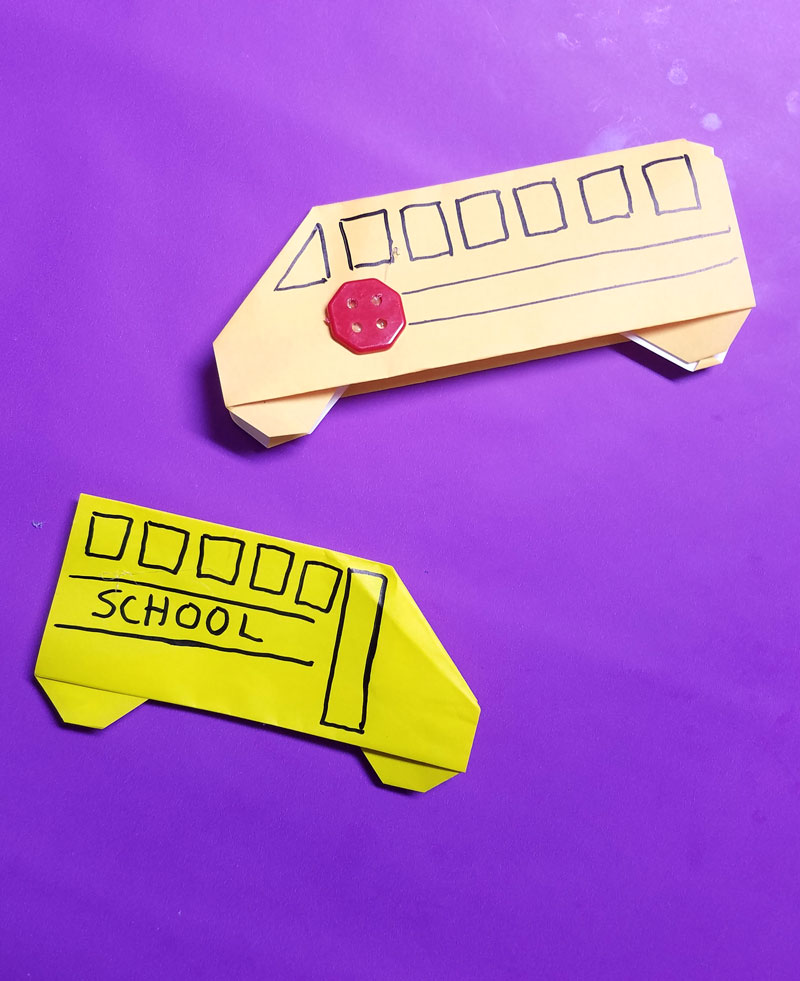 Make an origami bus - an adorable little school bus paper craft for kids - it is totally an origami tutorial for beginners and super easy. Use it to embellish any back to school craft. #backtoschool #papercraft #origami