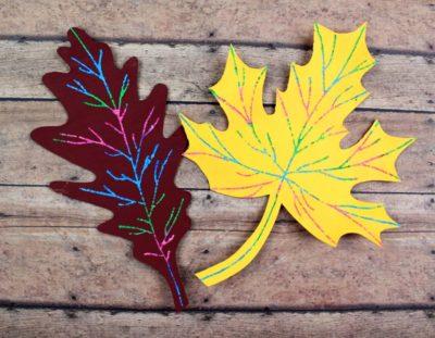 Scratch Art Fall Leaf Craft