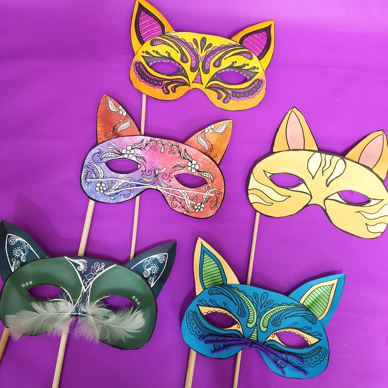 Cat Masks Printables and Paper Craft * Moms and Crafters