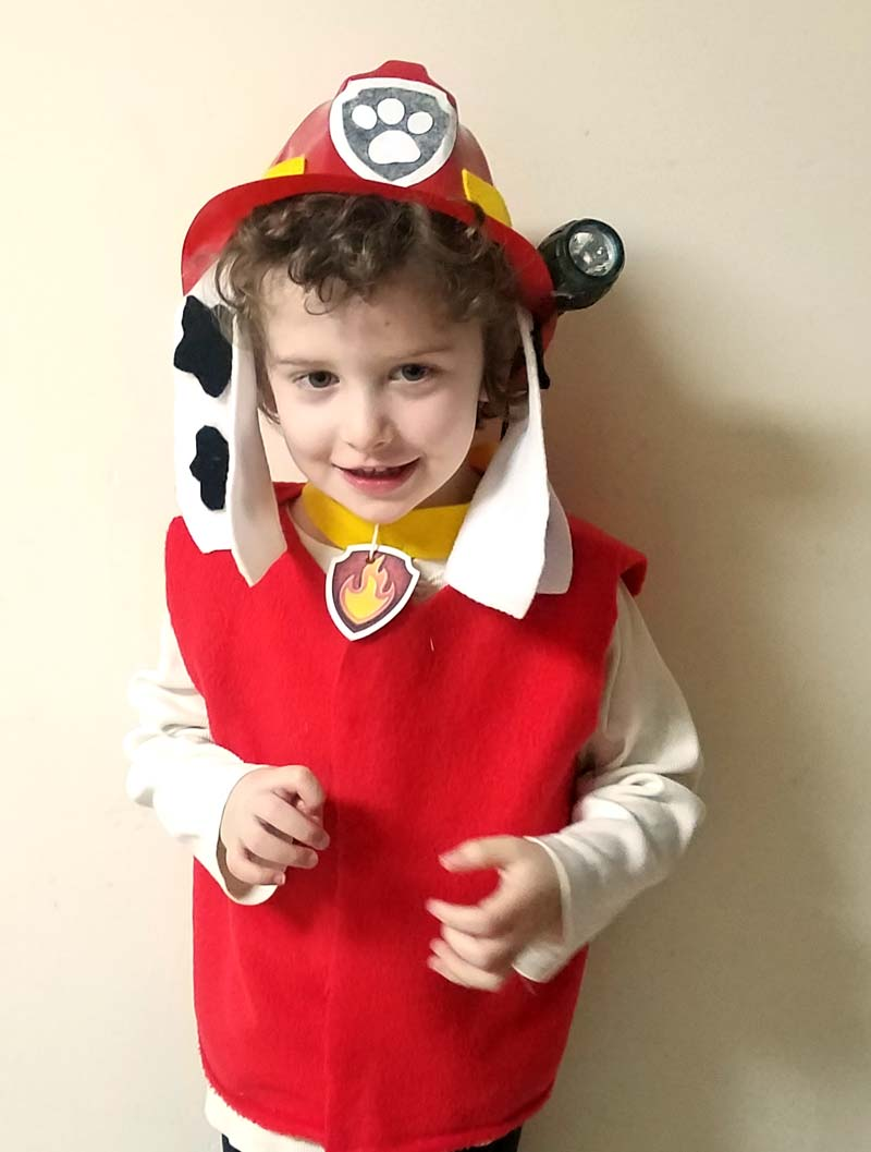 Love this adorable and easy DIY Marshall Paw Patrol costume idea! Such a simple no sew costume for preschoolers and toddlers and great for the kid who loves Paw Patrol costumes!