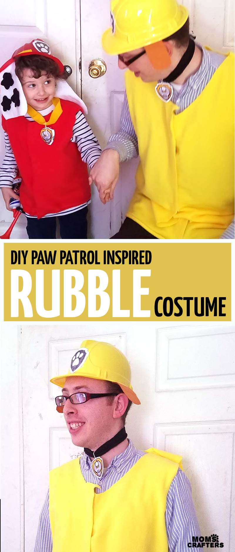 Create this adorable and easy DIY Rubble PAW Patrol costume - it's a no-sew costume inpired by Rubble from PAW Patrol! Perfect for your preschooler or toddler who is obsessed with the show, or as part of a family costume idea.